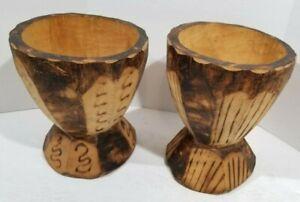 """Set of 2 wood pedestal vase or bowl tiki style hand carved wood burned 6""""-6 1/2"""""""