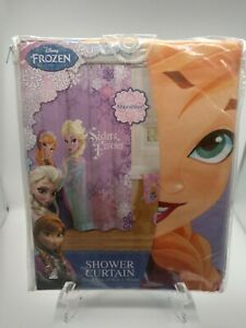 Disney Frozen Elsa Anna Nordic Frost Fabric Shower Curtain 70x72 Sisters Forever