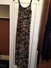 Women's Small Hi Lo Long Animal Printed Dress