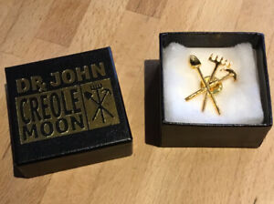 Dr. John - Vintage Creole Moon Gold PROMO Badge/Pin 2001 Night Tripper - Unworn