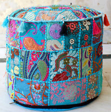 10 PCs Ottoman Cover Pouf Indian Patchwork Handmade Footstool Vintage Round