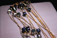 14k Gold Elegant Double Strand Necklace made w/ Swarovski Crystal Blue Stone