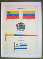 FLAGS VENEZUELA Uruguay Coat of Arms Naval Marine - 1899 Color Antique Print