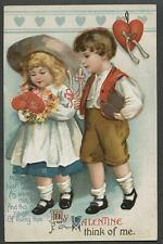 c.1910 S. GARRE Series 1034 UNSIGNED CLAPSADDLE VALENTINE Postcard Boy & Girl