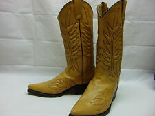Womens 7 E Custom ZZegua Beige Leather Blend Western Cowgirl Riding Boots