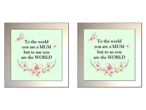 """""""TO THE WORLD YOU ARE A MUM..."""" Glass Drinks Coaster (2 WORDINGS)"""