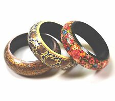 Lightweight Hand Painted Bangle Bracelets Floral Designs Set of 3 Red Gold Pink
