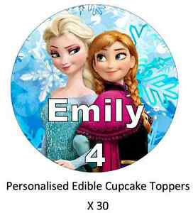 Anna And Elsa Frozen x30 Personalised Cupcake Toppers Edible Wafer Paper