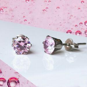 Titanium Light Rose Pink CZ Earrings, 4mm 5mm & 6mm, Nickel Free, Cubic Zirconia