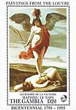 LOUVRE = GAMBIA 1993 MNH  ** FRENCH PAINTINGS (Le NAIN)  S/S MILITARY, NUDE