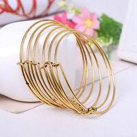 Wholesale Expandable Wire Bangle Bracelet Adjustable Gold Silver Tone Jewelry 2X