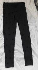 LC LAUREN CONRAD Women's Charcoal w/Black Flowers Skinny Leggings Size S