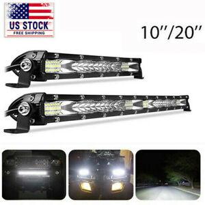 "10/20"" Slim LED Work Light Bar Single Row Spot Flood Offroad Driving ATV 4WD SUV"