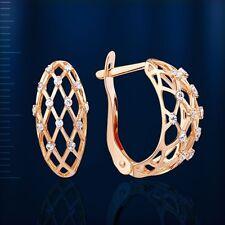 Rose Gold 585 russische Ohrringe Or97935