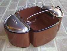 Vintage 5 Piece Porcelain Enamel Camping Cookware Set Brown Enamelware Pots