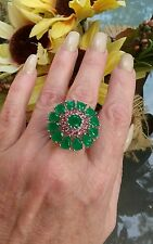 Exquisite Columbian Emerald & Tourmaline Flower Ring, Rhodium/925 silver, Sz 8