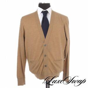 #1 MENSWEAR Paul Stuart Made in England Camel Tan Cardigan Knit Sweater M NR