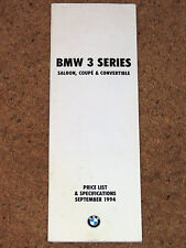 1994 BMW 3 SERIES PRICE LIST & SPECIFICATIONS - M3 Coupe Convertible Saloon
