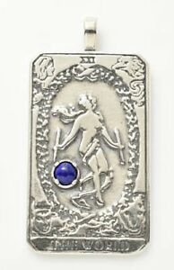 World Tarot Card Pendant .925 Sterling Silver w/ Natural Custom gemstone choice