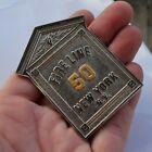 Vintage Alarm Box Fire Fighting Badge News Reporter #50 New York Fire Line Scher