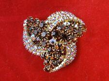 Vintage Amber AB Rhinestone BROOCH PIN Goldtone Finish