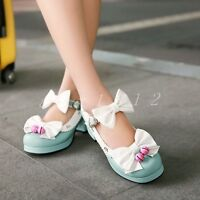 Womens Cute Bow Ankle Buckles Straps Mid Chunky Heel Flower Decor Lolita Shoes