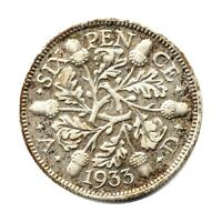 KM# 832 - Sixpence - 6d - Silver (.500) - George V - Great Britain 1933 (VF)