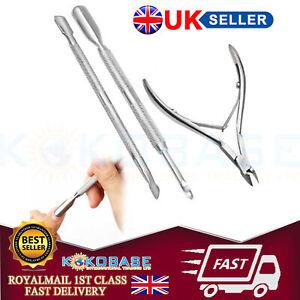 UK 3Pcs Nail Art Cuticle Spoon Pusher Clipper Nipper Manicure Tool Kit Set Stock