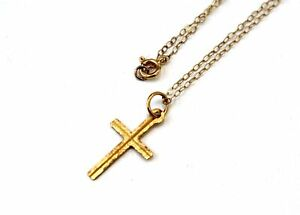 """375 9ct YELLOW GOLD Fine  Religious Cross Pendant 14"""" Chain Necklace 0.82g - M07"""