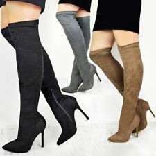 Womens Sexy Thigh Over The Knee Boots High Heels Stilleto Stretch Black Size UK