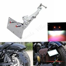 Motorcycle Side-Mount License Plate Bracket w/LED Light For Harley Forty Eight