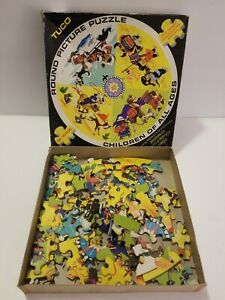"""Vintage TUCO Children Of All Ages/100 Pcs. Round Picture Puzzle 18"""" Wide/ No.600"""