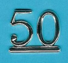 SILVER 50 NUMBERS / NUMERALS (Pack of 6) BIRTHDAY CAKE DECORATION / CARDS