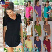Womens Solid Plus Size Tops V Neckline Short Sleeve Blouse Summer Casual T Shirt