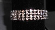 Vtg Elegant Rhodium Silver Tone Clear CZ Rhinestone Bracelet