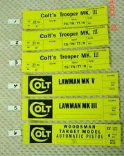 Colt 2 piece Vintage Box End Labels Python Diamondback Cobra Detective Special