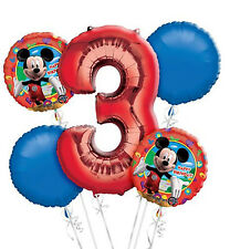 Mickey Mouse 3rd Birthday  Balloon Bouquet - 5 Foil Helium Balloons Party