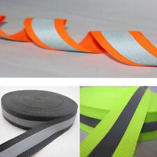 "50m Reflective Tape Strip Sew-On Silver Black Fabric Trim Safty Vest, Width 1"""