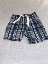 Carters Just One You Boys 6 Months Blue Plaid Shorts Gray White Teal