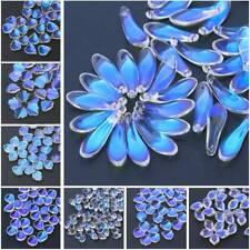20pcs Flower Petals Aurora Crystal Glass Loose Beads Pendants Lot Jewelry Crafts
