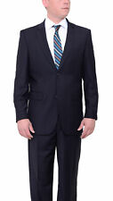 Vitali Classic Fit Solid Navy Blue Two Button Suit With Pleated Pants