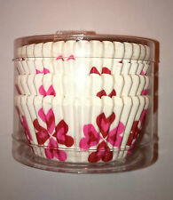 100 Blanc Cupcake Cases 2 Tone Pink Hearts Cross Romance Fun Cadeau Rétro Luv Vibe