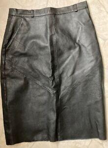 Nappaleder Rock - schwarz - Größe 40 - knielang - vintage
