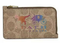 😍 Coach Signature Rexy and Carriage Zip Tan Multi/Brass Card Case Wallet Rainbo