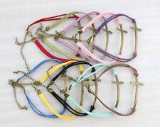 10PCS Retro Style Mixed Colours Velvet Antiqued Bronze Cross Link Bracele #23507