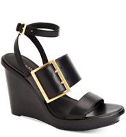 $129 size 6 Calvin Klein Pemba Black Leather Ankle Strap Platform Wedge Sandals