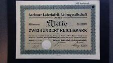 Aktie Aachener Lederfabrik AG  200 RM 1929 Aachen