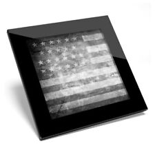 Glass Coaster BW - Distressed USA Flag America American  #41000