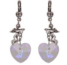KIRKS FOLLY ALL HEARTS COME HOME LEVERBACK EARRINGS silvertone  cherub angels
