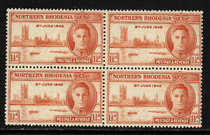 NORTHERN RHODESIA SCOTT #46a 1946 PEACE ISSUE BLOCK OF 4 MNH OG VF CAT $56!